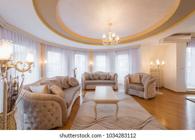 Interior of a luxury living room with round, circle, ceiling