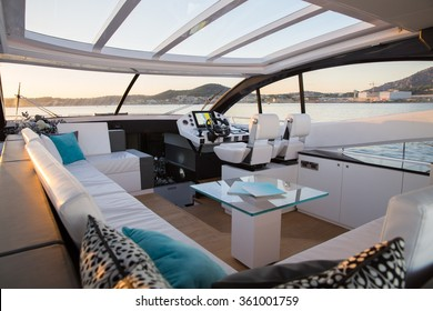 interior of luxury motoryacht at sunset