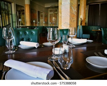 interior of a luxury restaurant with leather sofas