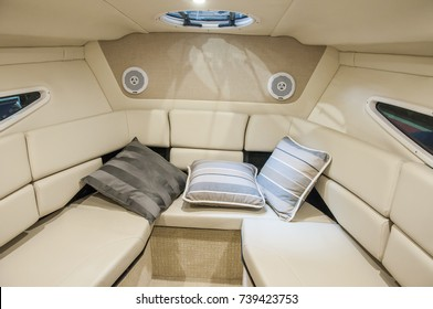 Interior of luxury yacht. Yacht cabin from leather material.