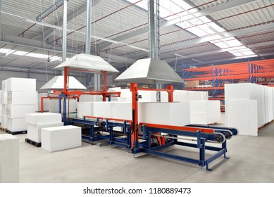 interior and machinery in a factory for the production of styrofoam components