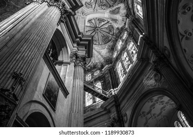 Interior of the Malaga Cathedral, black and white