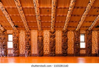 Interior of Maori meeting house in Waitangi, New Zealand