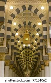 Interior of Masjid (mosque) Nabawi in Al Madinah, Saudi Arabia.