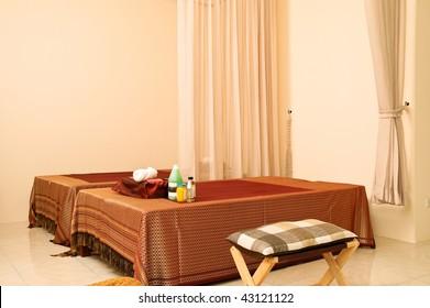 Interior of massage room in Thailand