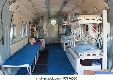 Interior of the medical helicopter, indoors