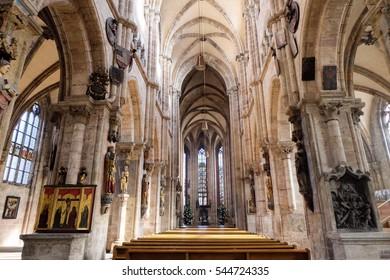 Interior medieval Architecture of St. Sebaldus Church in Nuremberg, Germany. 30 November 2016