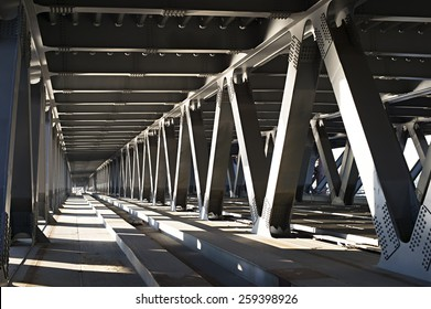 Interior of metal bridge in the day. Kiev, Ukraine