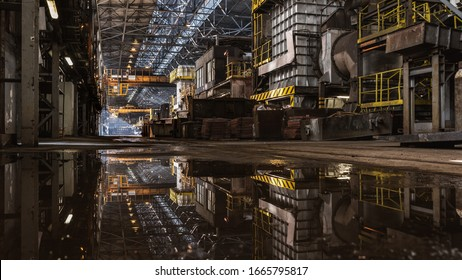 Interior of metallurgy hall in a copper smelter
