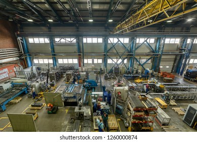 The interior of the metalworking shop. The interior of the metalworking shop. Modern industrial enterprise. View from the top point.