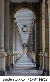 The interior of the Mill Colonnade in Karlovy Vary (Carlsbad), Czech Republic. - Shutterstock ID 1969414912