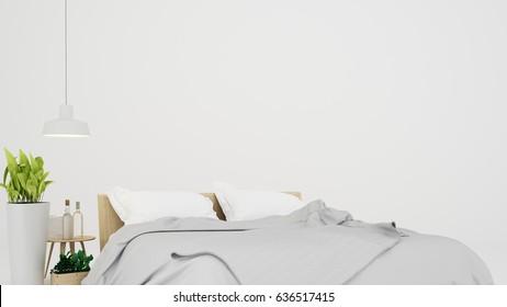 The interior minimal bedroom white background in condominium - 3D Rendering