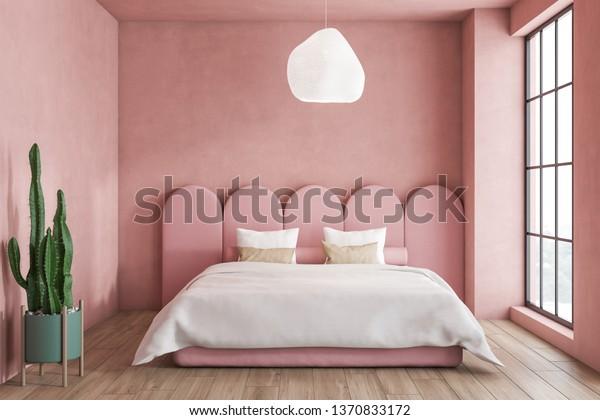 Interior Minimalistic Bedroom Pink Walls Wooden Stock Photo ...