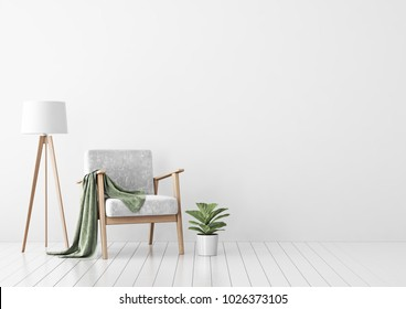Interior mock up with gray velvet armchair, green plaid, standing lamp and plant in pot in living room with white wall. 3D rendering.