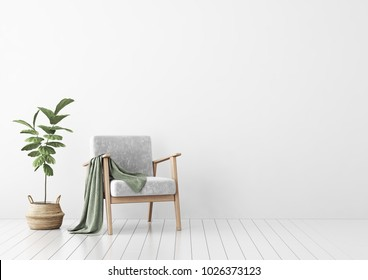 Interior mock up with gray velvet armchair, green plaid and fiddle leaf tree in wicker basket in living room with white wall. 3D rendering.