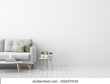 Interior mock up with gray velvet sofa, green pillows, coffee table and succulents in living room with white wall. 3D rendering.