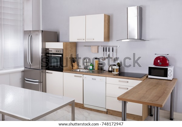 Interior Of A Model Kitchen With Electrical Appliance