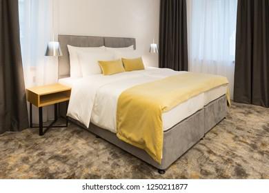 Interior of a moden hotel bedroom