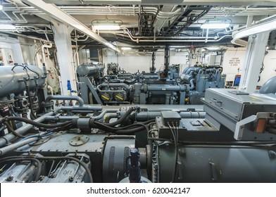 Interior of modern advanced technology vessel - dynamic positioning ship