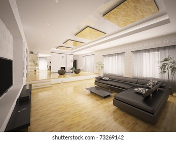 Interior of modern apartment with staircase and fireplace 3d render