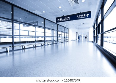 interior of the modern architectural in shanghai  airport.