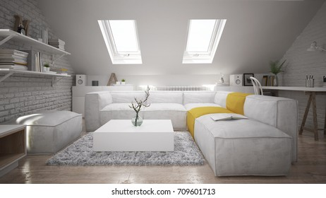 Interior of a modern attic space -  3 D render using 3 d s Max