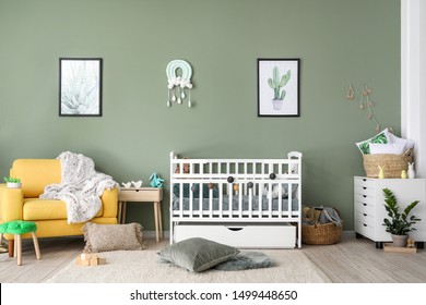Interior of modern baby room with crib