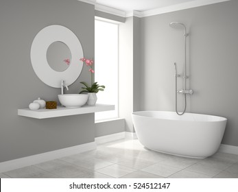 Interior of modern bathroom 3D rendering