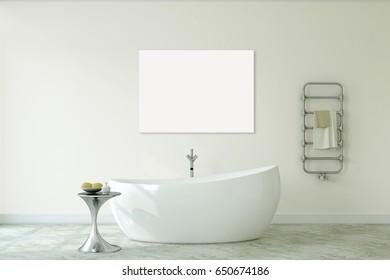Interior of modern bathroom. Canvasl mock-up. 3d render.