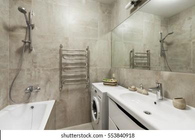 Interior of modern bathroom in scandinavian style