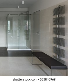 Interior of modern bathroom with shower cabin in minimalistic style