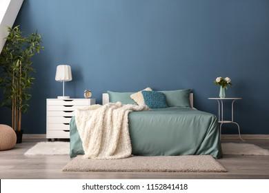 Elegant Blue Color Bedroom Images, Stock Photos & Vectors ...