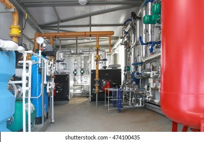 Interior of a modern boiler-house on the basis of two boilers