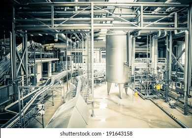 Interior of a modern brewery, equipments