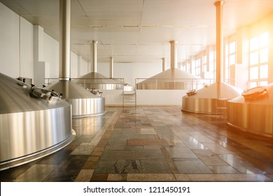 interior modern brewery plant, brewer tank in factory