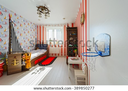 Interior Modern Childrens Room Red Furniture Stock Photo Edit Now