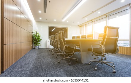Interior of a modern company meeting room, nobody before the meeting begins