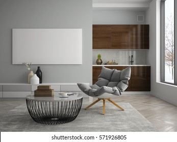 Interior of modern design room 3D illustration