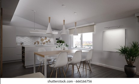 Interior of a modern dining room and kitchen - 3 D render using 3 d s Max