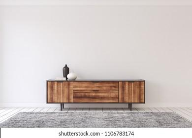 Interior with modern dresser. 3d render.