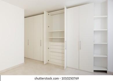 Interior of modern empty apartment, wardrobe