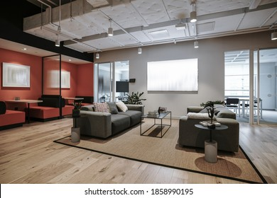 Interior of modern empty office building.Open white ceiling design with wooden floor.