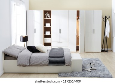 Interior of modern empty wardrobe bedroom.