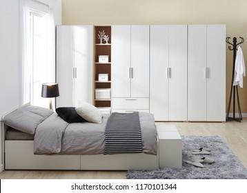 Interior of modern empty wardrobe room