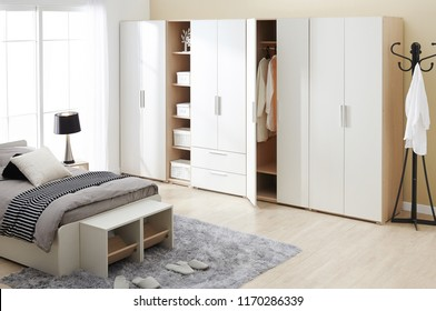Interior of modern empty wardrobe room