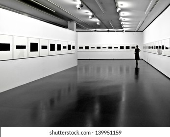 Interior of a modern exhibition hall. Exhibition.Panorama.