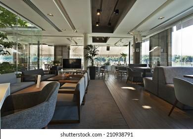 Interior of a modern floating restaurant