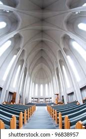 interior of modern Hallgrimskirkja church, Reykjavik, Iceland