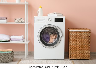 Interior of modern home laundry room