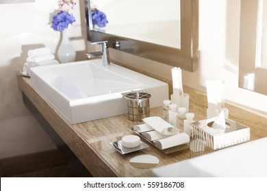 Interior of a modern hotel bathroom